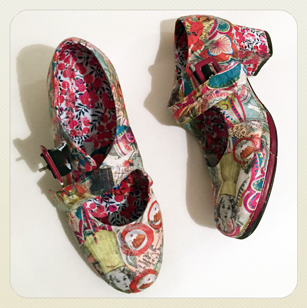 shoes decoupaged with multicoloured paper