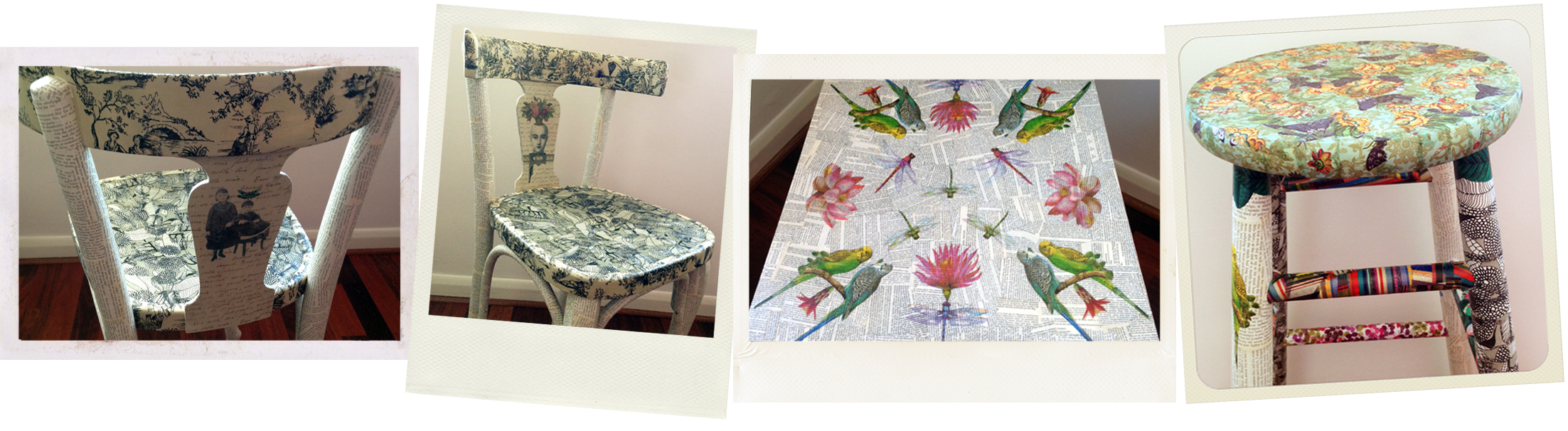 decoupaged chairs and stool