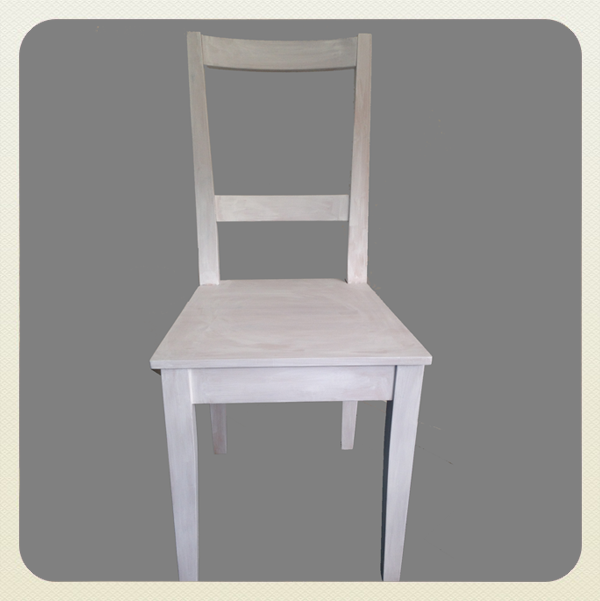 Chair primed in white paint and ready to decoupage. Purchase at the workshop for £20