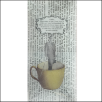 man in suit inside coffee cup book paper decoupage glass dish