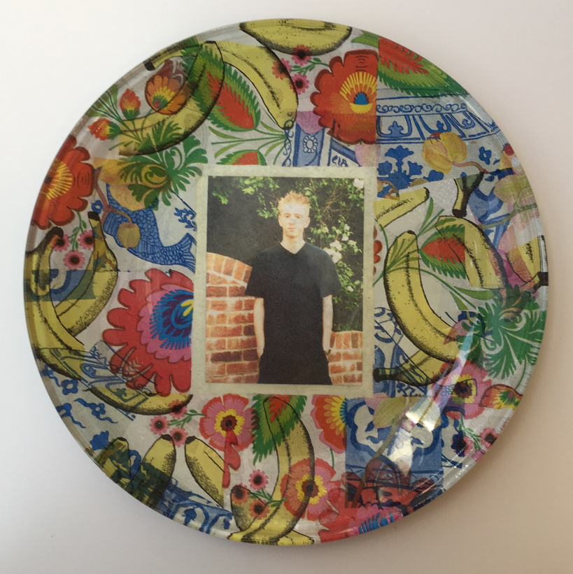 hen party glass plate decoupage Zoe