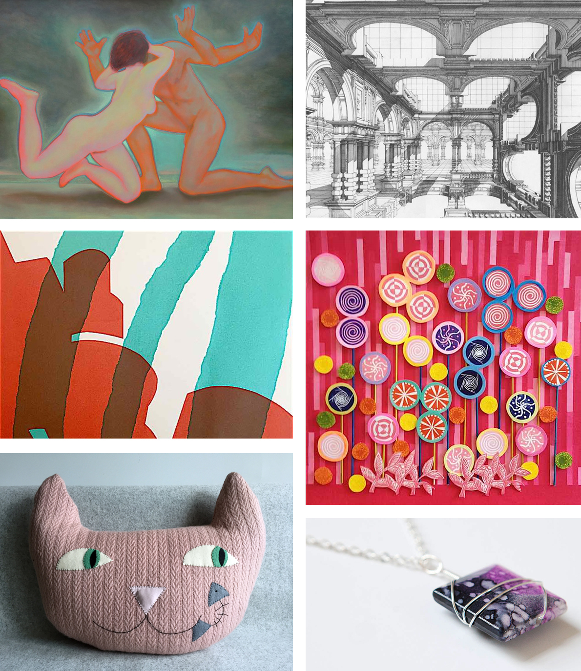 Camberwell open studios fine artists Emanuele Gori and Paul Draper, printmaker Pauline Amphlett, interior products by Mr & Mrs house, and Norwegian crafts by Smed