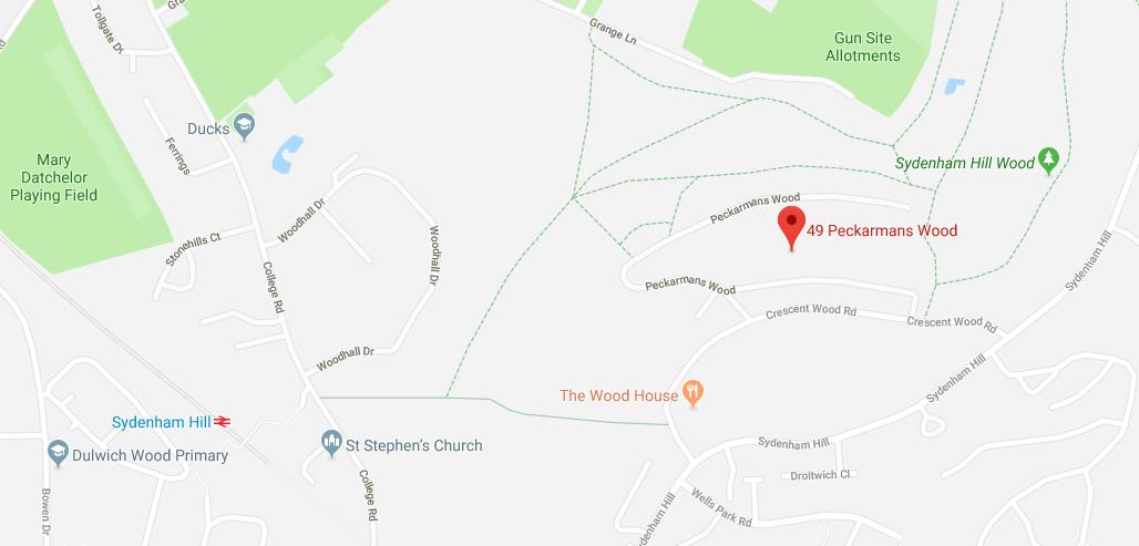 Map of 49 Peckarmans Wood, Dulwich Open House 2018
